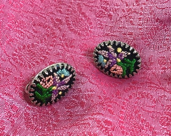 1960s Floral Embroidered Needlepoint Clip-on Earrings