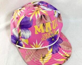 """1980s """"Maui Tropical Schnapps"""" Tubular Adjustable Beach Hat"""