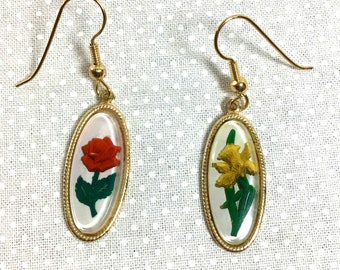 1970s Intaglio Rose and Daffodil Oval Gold Cameo Drop Earrings