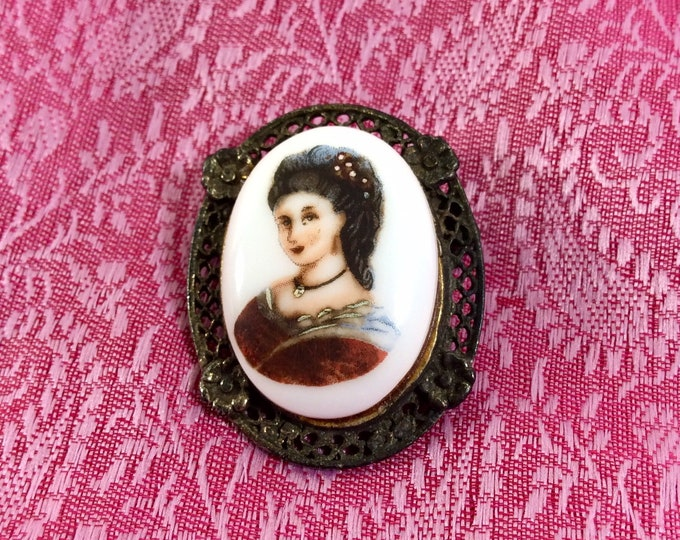 Featured listing image: 1970s Porcelain Painted Brunette Victorian Lady Cameo Brooch with Antiqued Filigree Setting