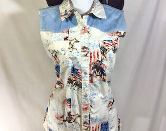 Vintage Sleeveless Western with American Horse Print and Pearl Snap Buttons size L