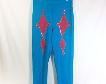 1960s Jester Stretch Leggings with Pink Velvet Sequin Appliqué size S/M