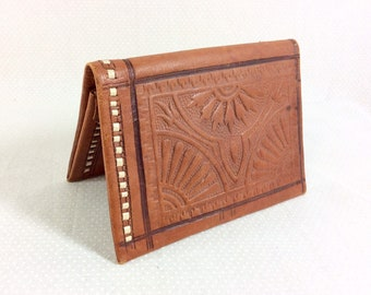 1970s Tooled Auburn Leather Wallet With Moroccan Sunburst Design