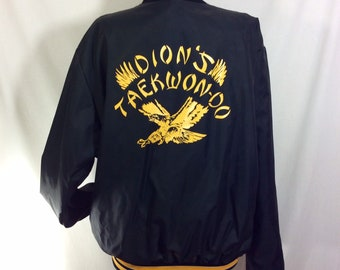 1980s Tae Kwon-Do Black and Yellow Bomber Jacket with Striped Knit Waist, Collar and Cuffs size M