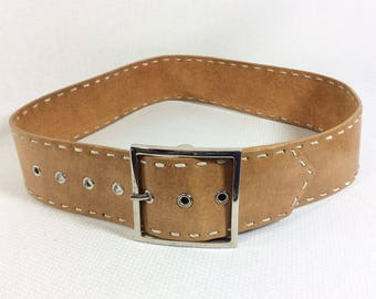 Vintage Tan Leather Belt with Large Square Silver Buckle size S/M
