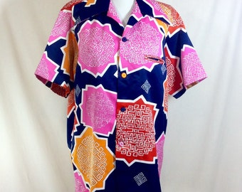 1970s Hawaiian Geometric Short Sleeve Button Up Shirt by Andrade size M/L