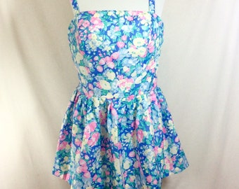 1980s Floral Pinup Swim Top with Rouching and Adjustable Straps size L/XL