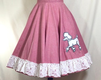 80s Does 50s Pink Cotton Poodle Skirt with Lace Ruffled Trim waist size 26
