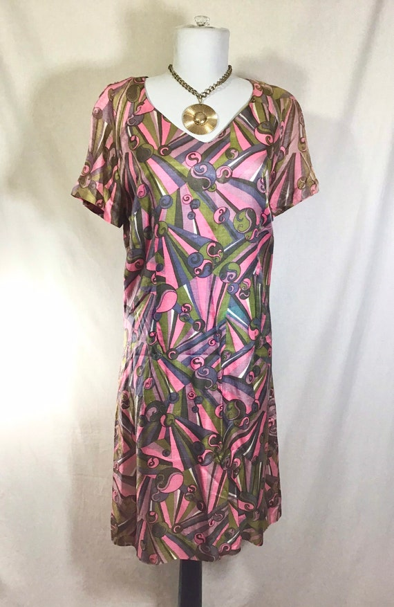1960s Psychedelic Print Short Sleeve Shift Dress s
