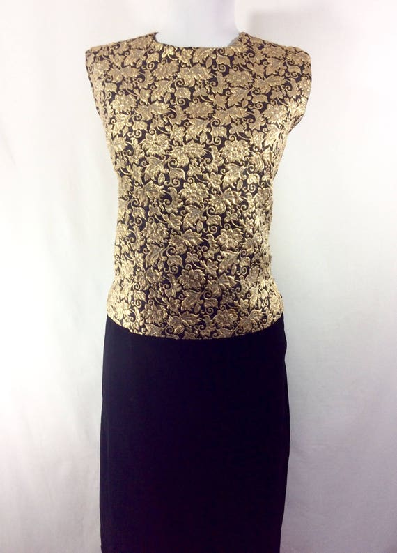 with Black Womens Brocade Skirt Gold 2pc 1960s Dress Pencil Velvet 10 size qFqXaU