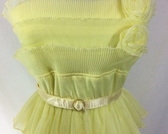 Womens 1960s Sunny Yellow Maxi Dress with Chiffon Pleating and Flowers size 6