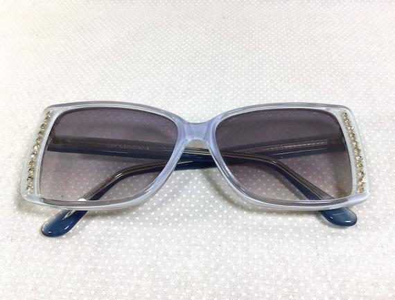 1970s Guy Laroche Rhinestone Blue Translucent Sung