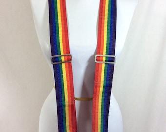 Vintage Rainbow Adult Size Adjustable Suspenders LIKE NEW!