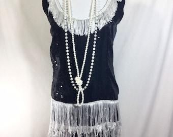 1990s Black Sequin Flapper Mini Dress with White Fringe size M