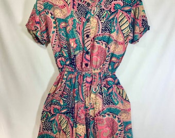 1980s Indian Cotton Paisley Romper with Pockets size S