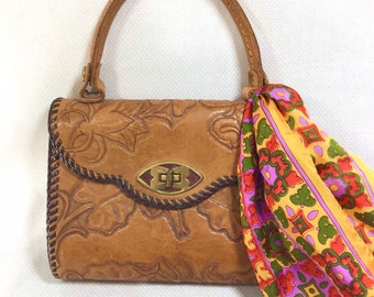 1960s Tooled Leather Southwestern Top Handle Purse with Turnkey Clasp