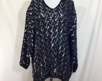 1980s Sequin Chevron Oversized Batwing Sweater size XL