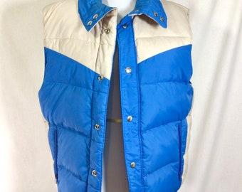 1980s REVERSIBLE Unisex Puff Vest with Snaps Men's (S) Women's (L)