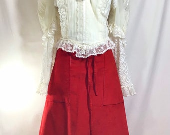 1970s Red Corduroy Wrap Skirt with Large Pockets size S