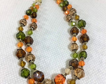 1950s German Made 2-Strand Autumn Crystal Beaded Necklace