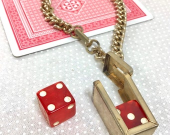 1960s Lucite and Brass Die Case Lucky Charm Chain Bracelet
