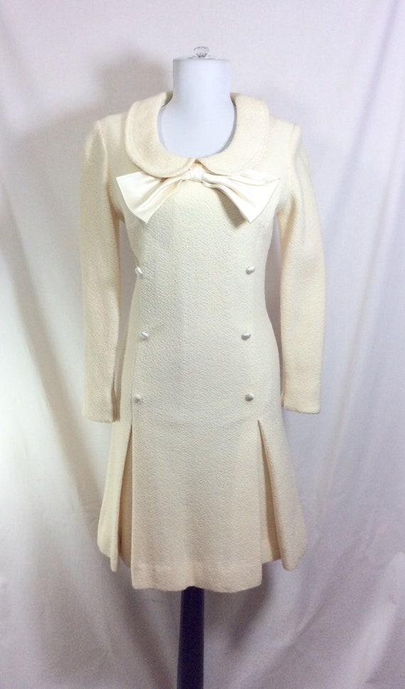 1960s Wool Ivory Minidress with Peter Pan Collar … - image 2