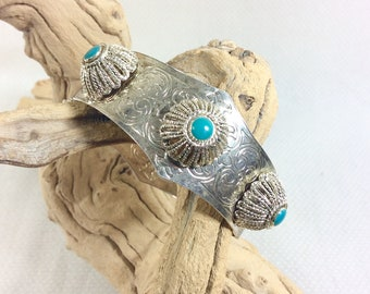 Vintage Silver Moroccan Hinged Cuff Bracelet with Turquoise Enamel and Pin Clasp