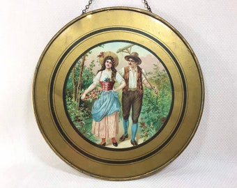 Vintage Romantic Gold-Foil Painted Glass Wall Hanging
