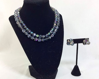 1960s VOGUE Aurora Borealis Crystal Necklace and Cluster Earring Set