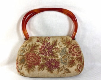 1960s Fall Floral Tapestry Purse with Lucite Top Handles