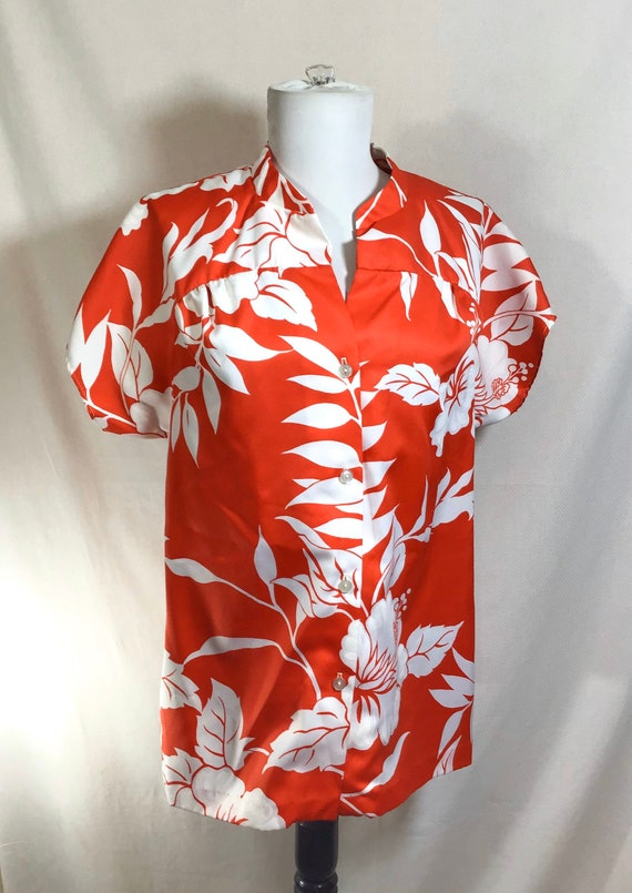 1980s Red Hawaiian Hibiscus Print Button-Up Smock