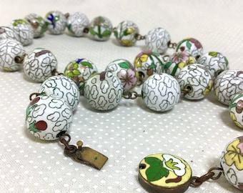 1960s Early Export Cloisonné Porcelain Painted Bead Necklace