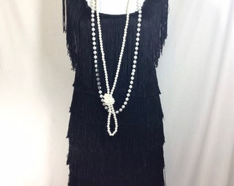 1990s Black Fringed Sleeveless Flapper Dress with Sequin Beaded Neckline size M