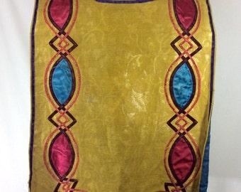 1920s Handmade Gold Brocade and Velvet Jester's Robe Costume size S/M