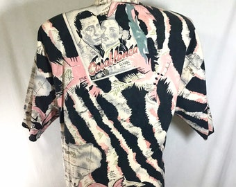 1980s Casablanca Zebra Palm Print Short Sleeve Button Up Top size M