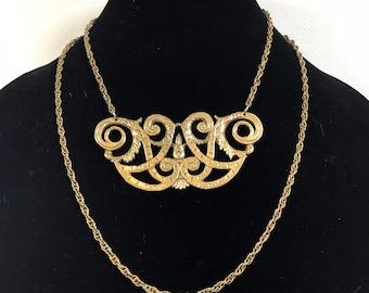 1980s Gold Brass Filigree 2 Strand Ornate Statement Necklace