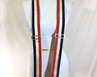 Vintage Old Timey Red White and Blue Striped Adjustable Suspenders