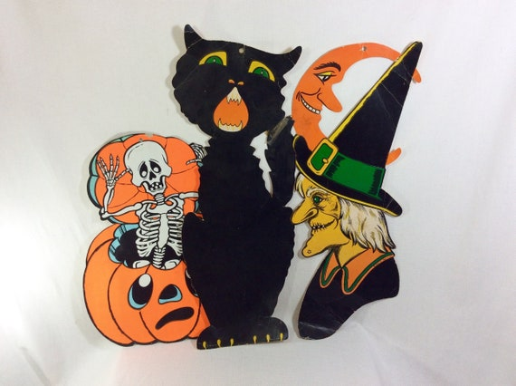1940s 50s Rare Beistle Die Cast Paper Halloween Wall Hanging Decorations Lot Of 3