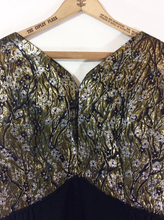 Sleeveless size Scarf Skirt Brocade M Metallic Dress with Black Womens and 1950s Chiffon tTRwPRq