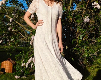 1990s Romantic Lace Dress with Crystal Buttons and Nylon Slip size S