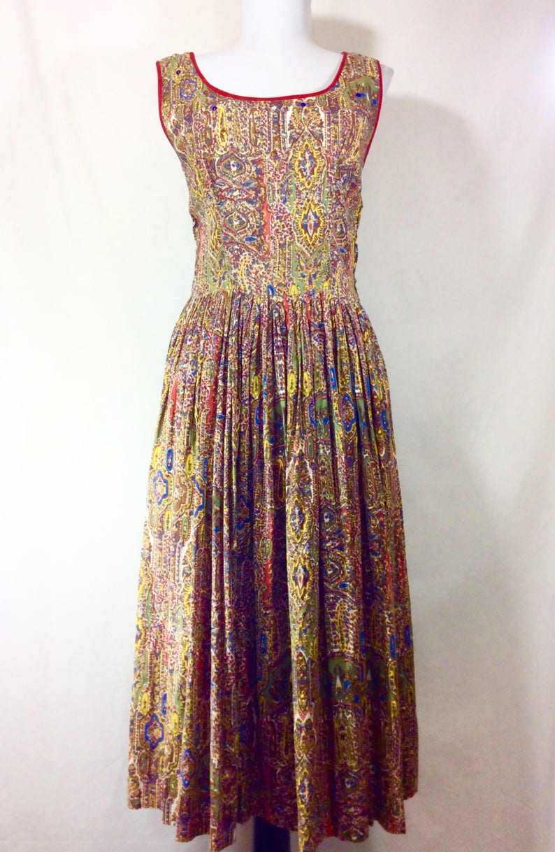 1950s Jeweled Print Sleevess A-line Dress with Red Piping Neckline size S
