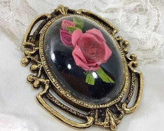 1980s Romantic Paper Rose Cameo Pendant/ Brooch