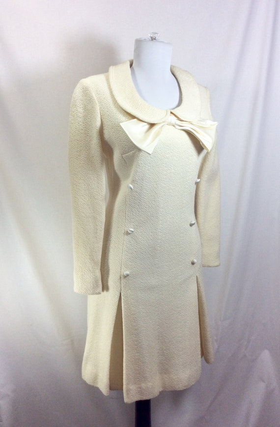 1960s Wool Ivory Minidress with Peter Pan Collar a