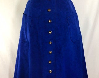 1970s Vera Maxwell Cobalt Blue Ultra Suede Skirt with Faux Wood Buttons and Pockets size S