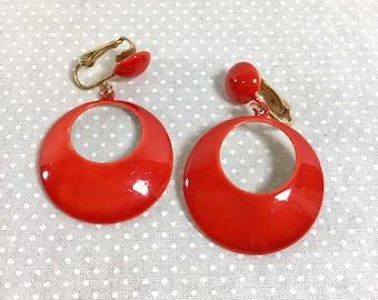1960s Orange Mod Enamel and Brass Dangle Hoop Clip-On Earrings
