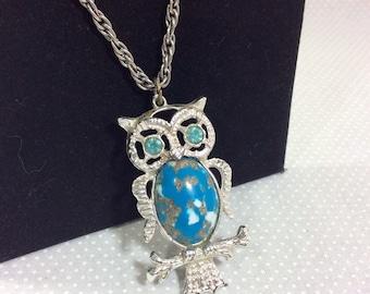 1970s Confetti Lucite and Rhinestone Owl Pendant on Long Silver Chain