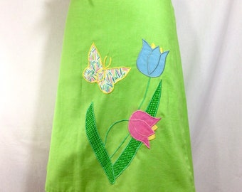 1970s Reversible Cotton Wrap Skirt with Butterfly and Tulip Appliqués size S