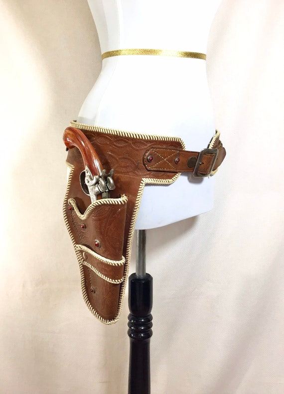 1970s Leather Studded Western Holster Ammunition B