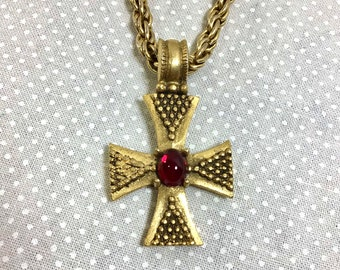 """1960s Gold Byzantine Cross Necklace with Crimson Jewel on 20"""" Chain"""