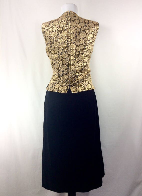 10 Gold 2pc Brocade size 1960s Pencil Womens Velvet Black with Dress Skirt qFBfnwA